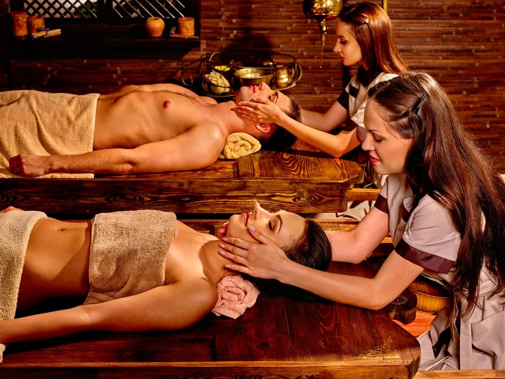Grand Solmar Timeshare Couple having oil Ayurveda spa treatment.